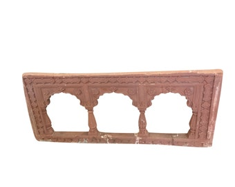 Antique Red Stone Arch Frame Hand Carved, Decorative wall hanging Frame