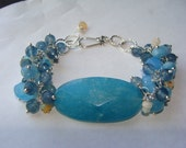Angelite, Chalcedony, Apatite, Ethiopian Opal and Sterling Silver Bracelet