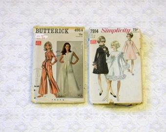 Vintage 60's Mod Pantsuit Party Dress with Boa Trim Pattern Lot 2pc sz12