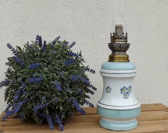 French oil lamp traditional ceramic oil lamp French home decor vintage French bedroom light ceramic oil lamp baby blue ceramic lamp