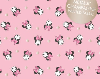 Disney Minnie Mouse Pink Champagne Metallic Fabric