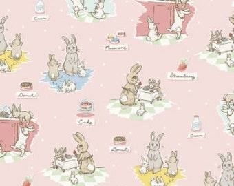 Bunnies and Cream Pink Penny Rose Fabrics