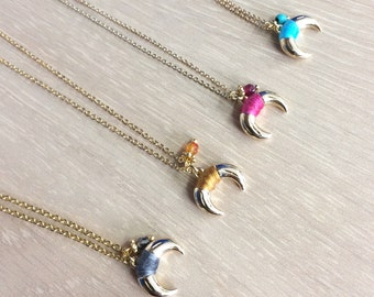 Double horn Gold necklace, Crescent Necklace, Bohemian Jewelry , Layering Necklace, Gold Plated Chocker