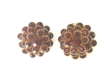 Vintage Topaz Flower Stone Clip On Earrings