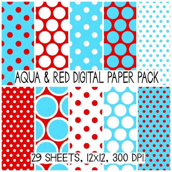Aqua and Red Dr. Seuss Colors Digital Paper Pack Set Polka
