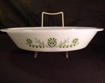 Glasbake Primrose Dream Divided Baking Dish Oval 8 X 10