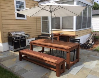 Outdoor Cedar Picnic Table with Ice Bin - Beer & Wine Tabletop Cooler Tray
