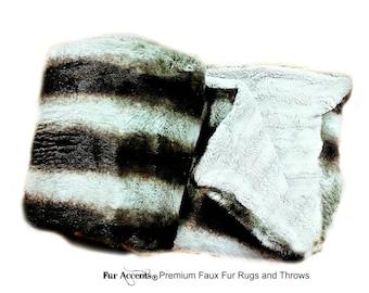 Plush Faux Fur Throw Blanket Bedspread - Super Soft - Gray Chinchilla Stripe - Fur Minky Cuddle Fur Lining - Fur Accents - USA