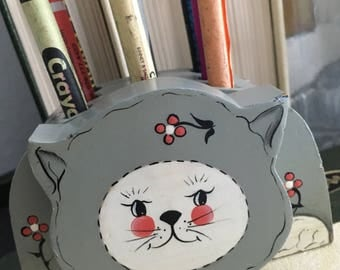 Wooden cat pencil holder, crayon holder, cat