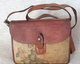 Vintage ALVIERO MARTINI world map shoulder flap bag 1A Classe cross body purse