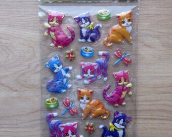 Lisa Frank Style Cat Puffy Stickers ~ Colorful Kitten Stickers ~ Cute Kitty Stickers