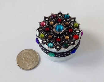 Unique rainbow Engagement ring box/ proposal Ring Box / trinket box