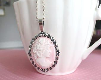 Genuine Cameo Necklace | Authentic Italian Pink Shell Cameo | Shell Cameo Pendant | Silver Cameo Jewelry | Pink Cameo | Real Cameo Jewelry