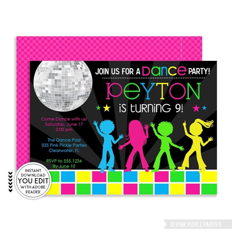 disco party invitations – gangcraft, Birthday invitations