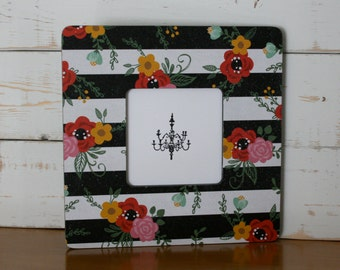 Black and white Picture frame, Striped Photo frame, Bright flowers Decoupaged frame