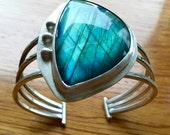 Sterling Silver and Labradorite Cuff Bracelet