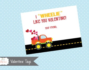 Valentine's Day I Wheelie Like you Truck Tag (Instant Download)