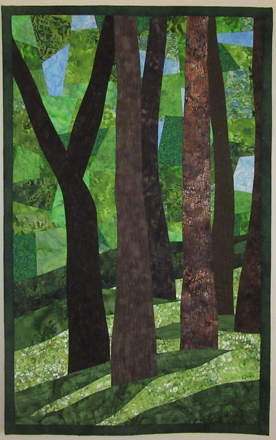 Art Quilt Landscape Abstract Trees 5, Wall hangings