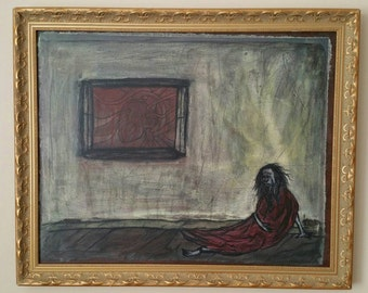 Monk by Caleb Rocha, fine art Original Acrylic Paint with Gold Frame 18 x 22, Homeless Housing Rights, Chicago streets humanitarian