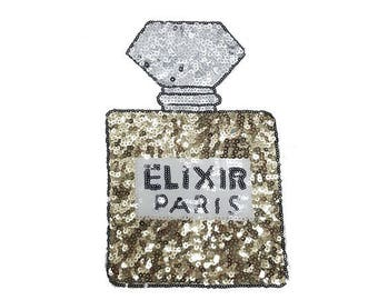 Sequined Perfume Patch Applique with Gold and Silver Sequins for Sewing