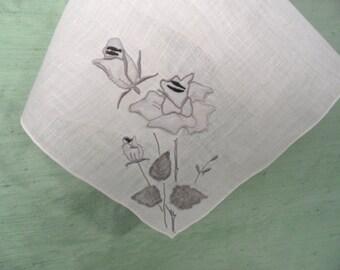 Grey rose applique hankie /  3D floral handkerchief