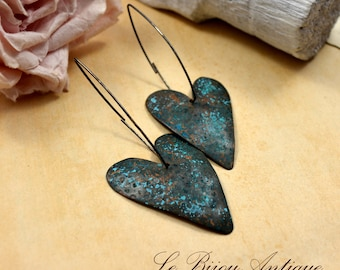 Hearts earrings metalwork ooak oxidized blue black vintage brass and sterling silver patinated chunky dangles one of a kind invisble earwire