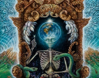 Samsara - Visionary Art Paper Print by Morgan Mandala - Psychedelic Landscape with throne of peace - Skeleton, animals, earth, space