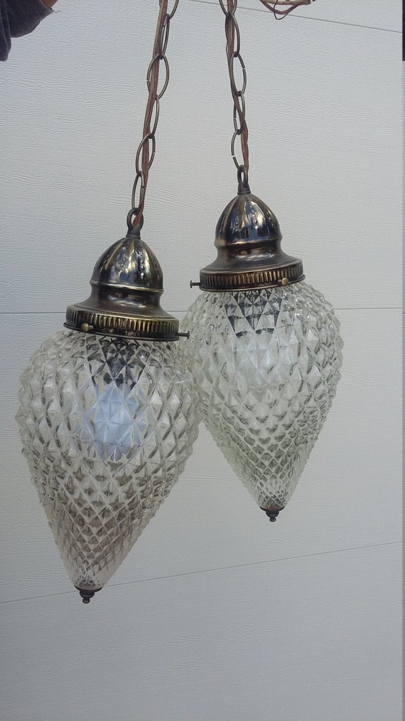 Vintage Swag Double Hanging Pendant Light Deco Pineapple clear Glass Round Globe Ball  fixture antique brass ceiling mount metal Decor retro