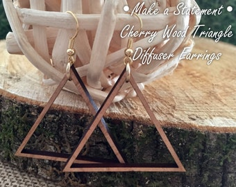 Cherry Wood Triangle Diffuser Earrings