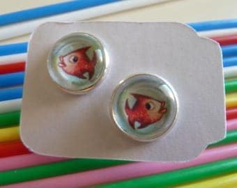 Button Earrings Goldfish