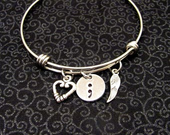 Adjustable Bangle Bracelet, Semicolon, Mental Illness Awareness, Heart, Angel Wing, My Story Isn't Over Yet