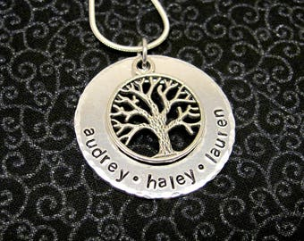 Hand Stamped Tree of Life, Family Tree Necklace with Names and Tree Charm