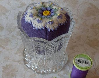 Handmade Felted Wool White & Purple Floral Pincushion in a Pressed Glass Dish