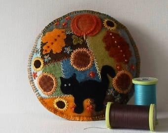 Handmade Autumn Garden Felted Wool Embroidered Crazy Patch Pincushion