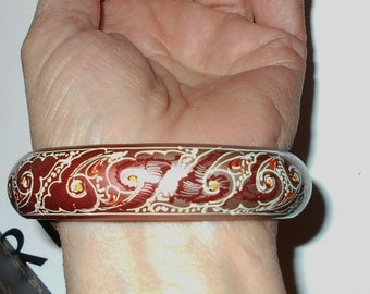 Hand Painted vintage wood bangle bracelet, painted in Russia - Vintage 1980s jewelry