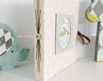 Baby Shower Guest Book, Woodland Nursery, Woodland Baby Shower, Personalized Baby Shower, Memory Book, Small Long-stitch