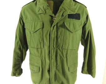 Vintage 70s OG-107 M-65 Field Jacket M Issachar Cotton Sateen [H26I_3-7]
