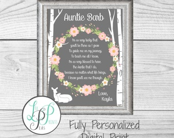 Personalized Aunt Gift, Gift for Aunt, Auntie Gift, Gift from Niece, Aunt Birthday Gift, Aunty Present, Aunt Poem, Aunt Gift from Child