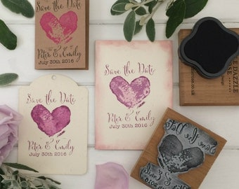 Personalised Save the Date Wedding Rubber Stamp - Grunge Heart Design