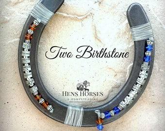 Custom Horseshoe | Personalized Horseshoe | Two Birthstones | Two Children Personalized Birthstone Horseshoe | Birthstone Horseshoe