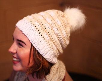 Crochet plaid slouchy adult beanie fur pom-white