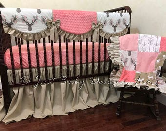 Girl Deer Baby Bedding Set Corinna Coral -  Woodlands Nursery Bedding, Baby Girl Deer Crib Bedding, Coral Baby Bedding, Girl Nursery Bedding