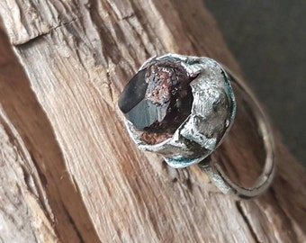 Crystal Garnet Ring /Sterling Silver /Rustic / Handmade /Primitive