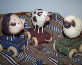Baa Oink Moo Prim Pull Toys