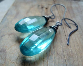 Aqua Lucite Large Teardrop Earrings Holiday Jewelry Oxidized Sterling Silver Bridesmaid Gifts Under 40 Modern Art Deco May Wire Wrapped