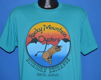 80s Rocky Mountain Oysters Buckhorn Exchange t-shirt Large