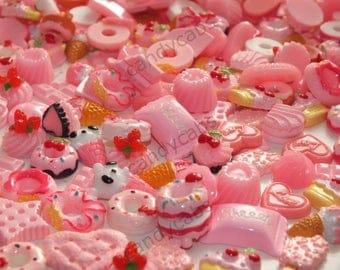 BULK BUY! 20pcs Mixed Baby Pink Sweet Treat Cakes Cookies Flatback Decoden Kit