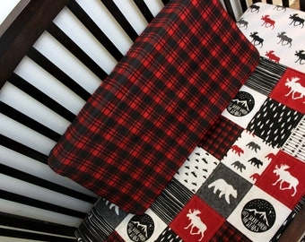 Lumberjack Quilt & Fitted Sheet, Baby Toddler Bed Set, Grey Red Black Bedding, Boy Bedding, Woodland Bed Set, Bear Moose Lumberjack Nursery