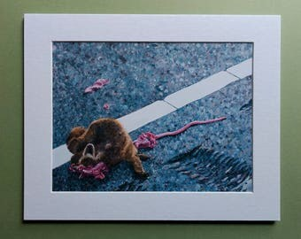 "Fine Art Print ""Still Life with Raccoon II"" 6x8 matted to 8x10"