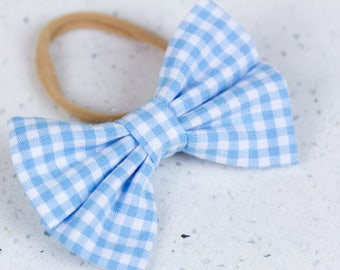 Light Blue Gingham Bow & Bow tie